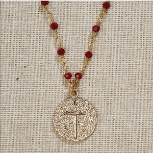 Jewelry - Gold Cross Necklace On Deep Red Beaded Chain